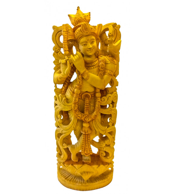 GOD FIGURE CARVED KADAM WOOD Krishna 24inch