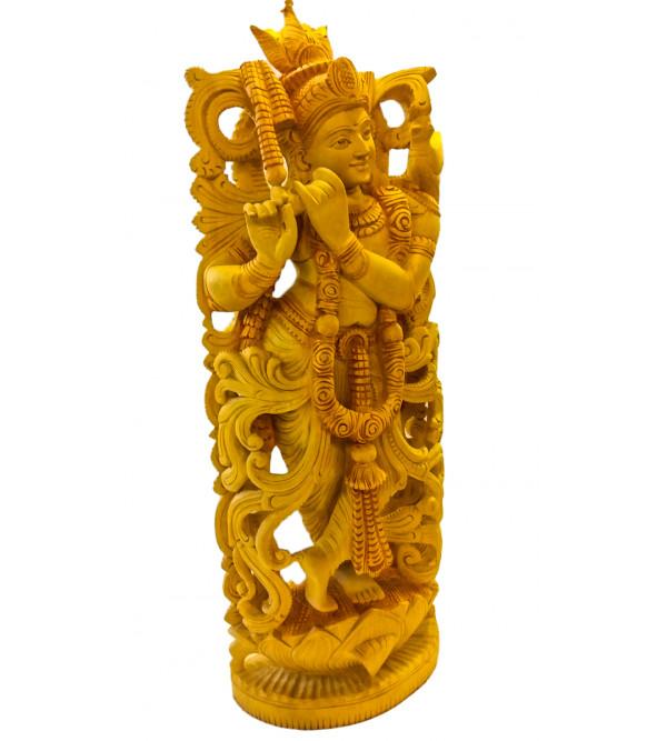 GOD FIGURE CARVED KADAM WOOD Krishna 24inch