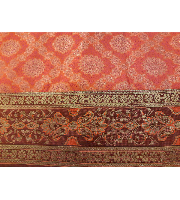 Brocade Handwoven Table Cover from Banaras  Size 60x60 Inch