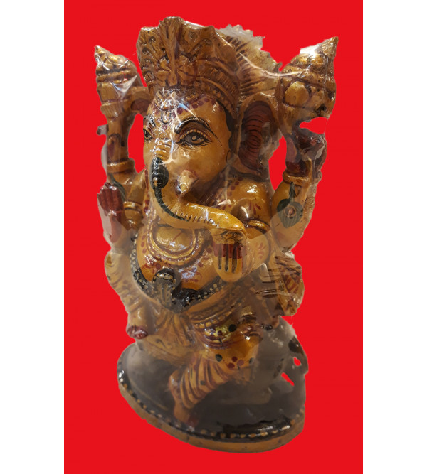 Wood Painted 6 Inch Ganesh