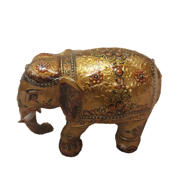 Kadamba Wood Handcrafted Elephant with Miniature Painting Design and Real Gold Work