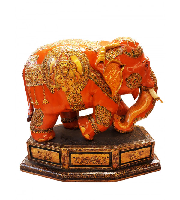 ELEPHANT PAINTED PATHA KADAM WOOD 14 INCH