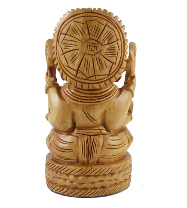 GANESH OPEN CHATTER FINE CARVED KADAM WOOD 4 INCH