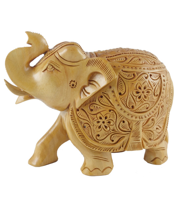 ELEPHANT CARVED KADAM WOOD 4 INCH