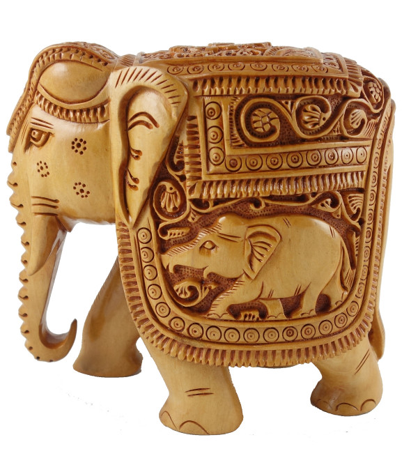 ELEPHANT DEEP CARVED KADAM WOOD 3 INCH