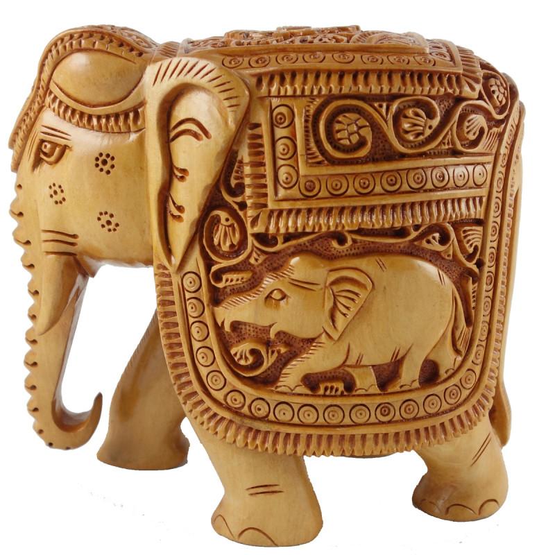 ELEPHANT DEEP CARVED KADAM WOOD 3 INCH