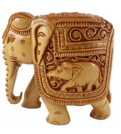 ELEPHANT DEEP CARVED KADAM WOOD 4 INCH