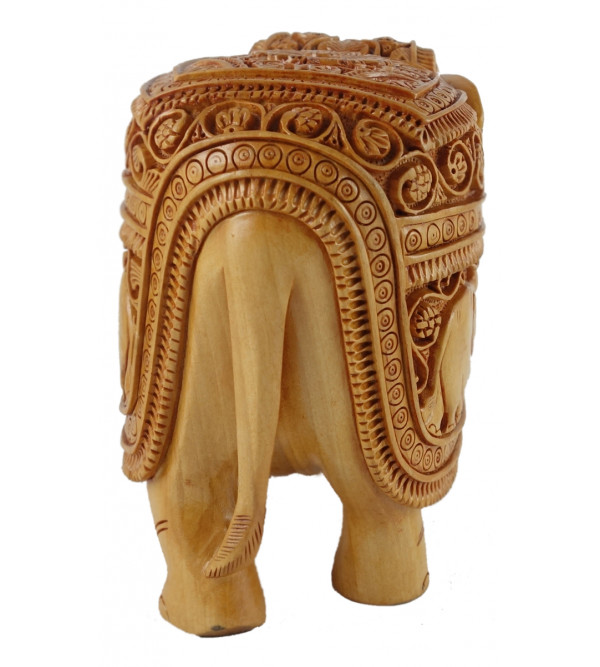 ELEPHANT DEEP CARVED KADAM WOOD 5 INCH