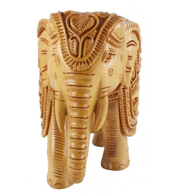 ELEPHANT DEEP CARVED KADAM WOOD 6 INCH