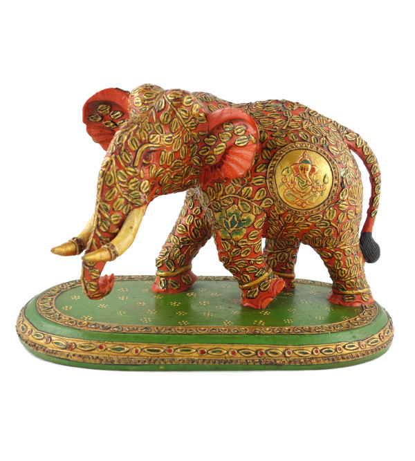 ELEPHANT PAINTED FINE KADAM WOOD 5 INCH
