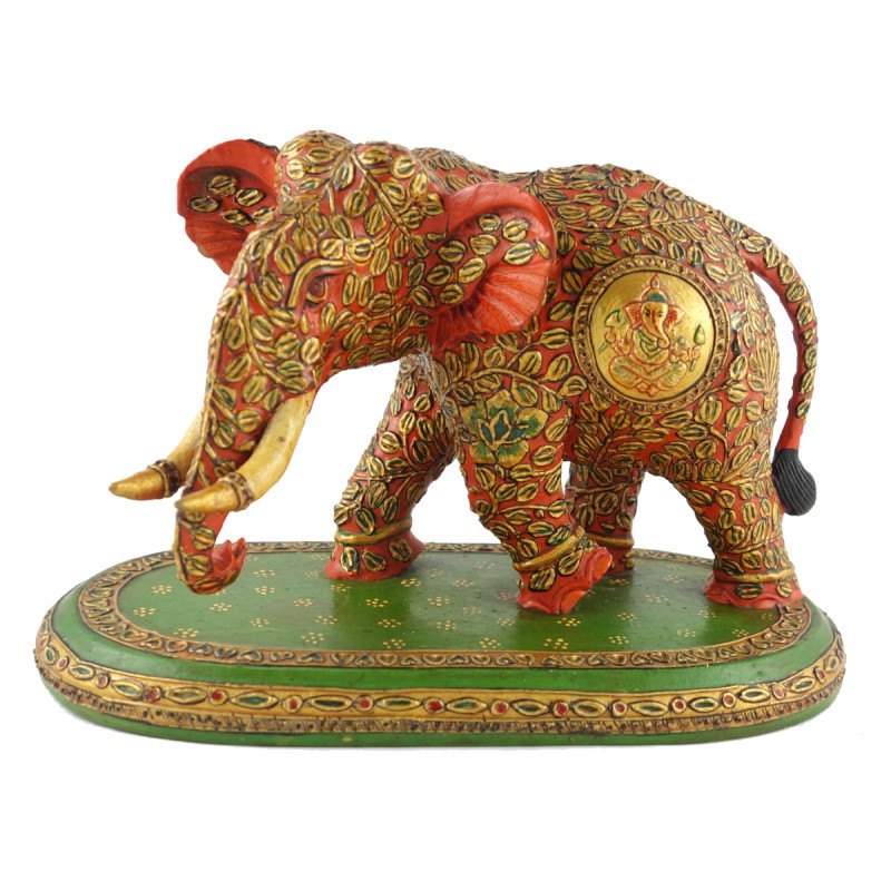 ELEPHANT PAINTED FINE KADAM WOOD 5 INCH