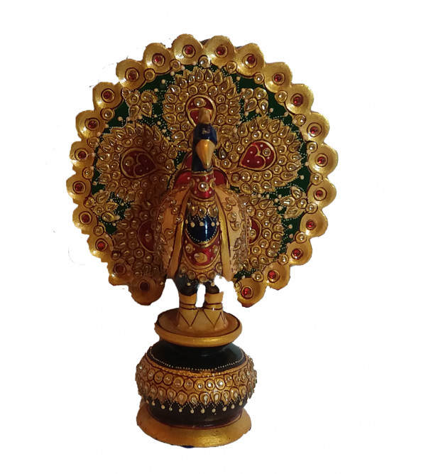 Kadamba Wood Handcrafted and Hand Painted Peacock with Real Gold Paint