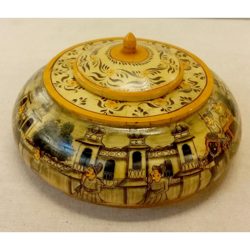 Camal Bone Box With Painting 5 Inch