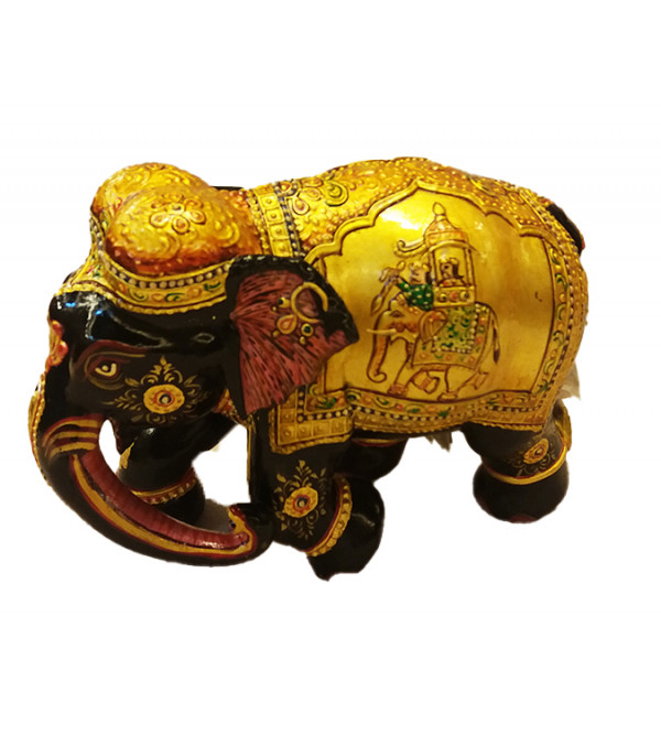 ELEPHANT  MINITURE PAINTING ANTIQUE FINISH KADAM WOOD 6 inch