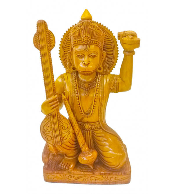 Kadamba Wood Handcrafted Carved Lord Hanuman Figure