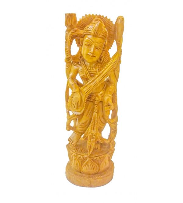 Kadamba Wood Handcrafted Figure of Goddess Saraswati