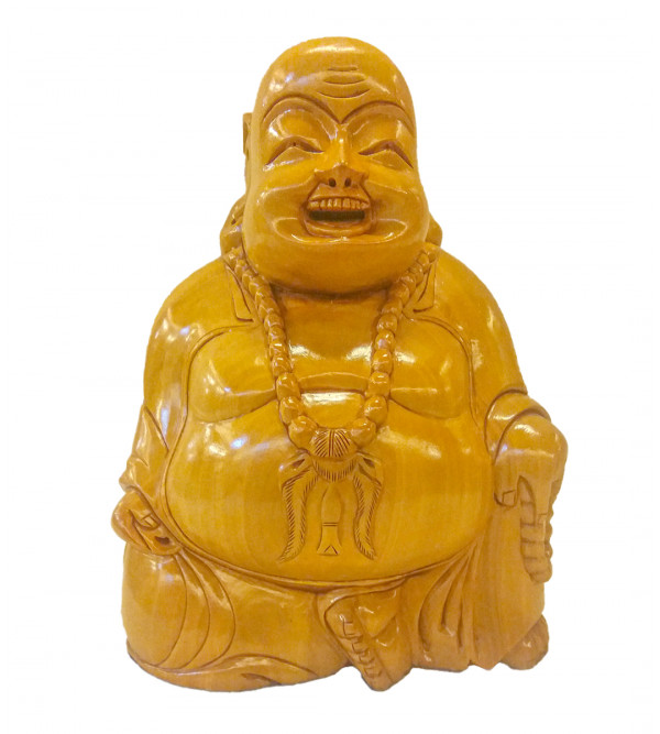 BUDHA LAUGHING SITTING KADAM WOOD 9 inch