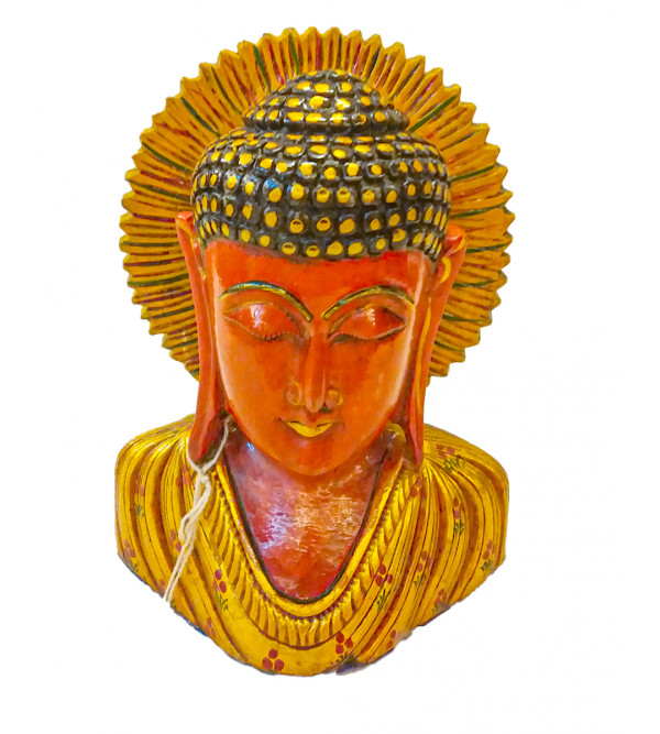 Budha Bust Kadam Wood 6 INCH  PAINTED ANTIQUE FINISH