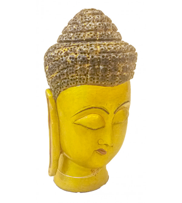 Kadamba wood Handcrafted and Hand painted Lord Buddha Head
