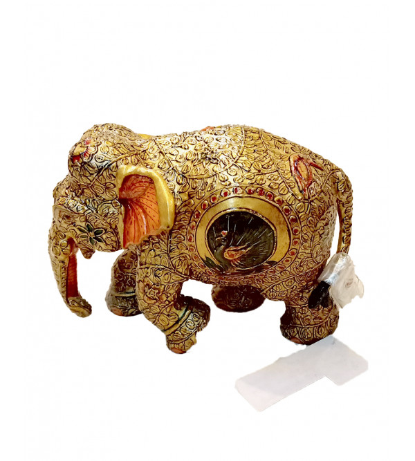 WOODEN ELEPHANT 4 inch gold work