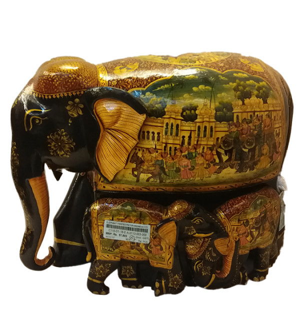 ELEPHANT PAINTED PATHA KADAM WOOD 12 inch