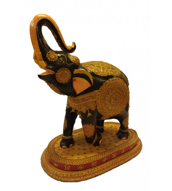 ELEPHANT PAINTED PATHA KADAM WOOD 16 inch