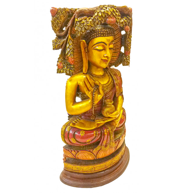 18 INCH BUDHA WITH TREE PAINTED