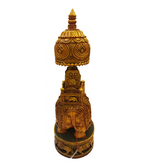 AMBARI CARVED SHIKAR KADAM WOOD 27 1nch PAINTED