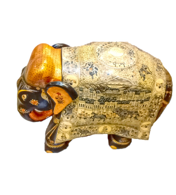 20 INCH ELEPHANT WITH MINIATURE PAINTING IN KADAM WOOD