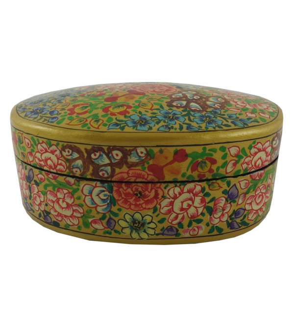 Paper Mache Oval Box 4 Inch Assorted designs and colors