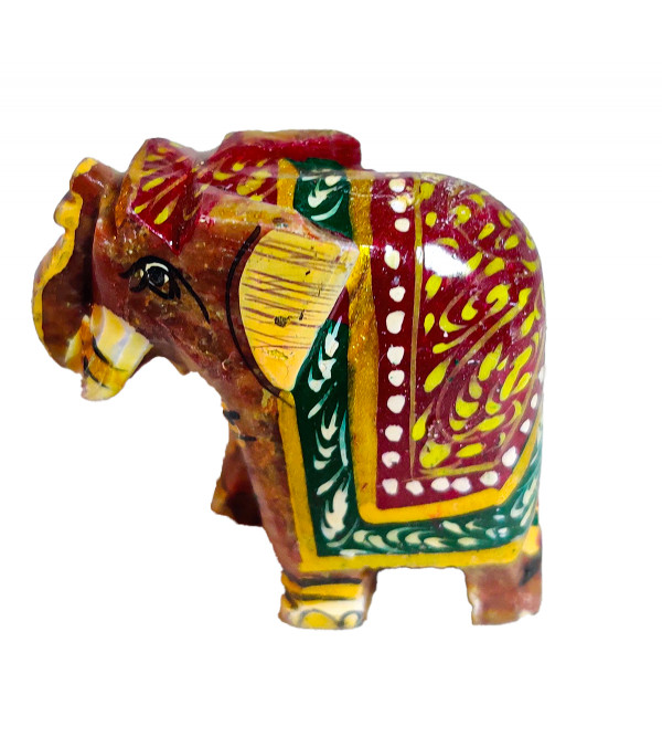 PTD Soap Stone Painted Elephant Size 2 Inch