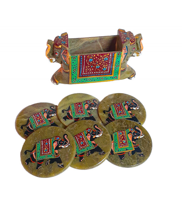 PTD Soap Stone Coaster Set Size 4 Inch