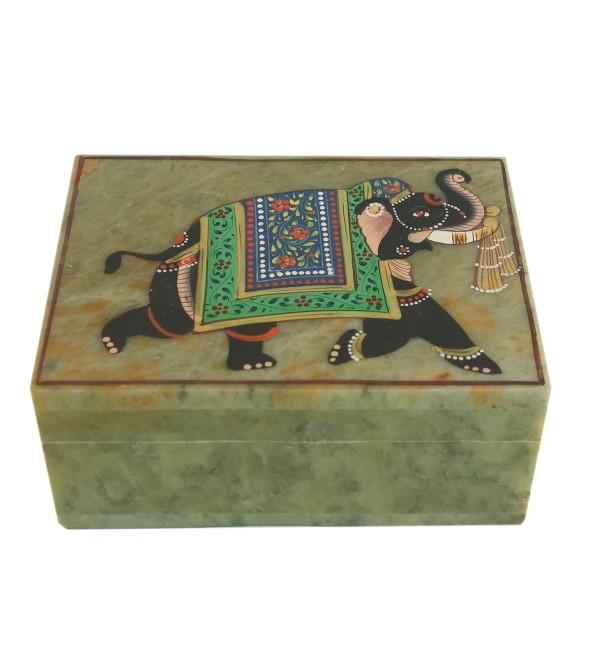HANDICRAFT SOFT STONE PAINTED BOX  3X4 INCH