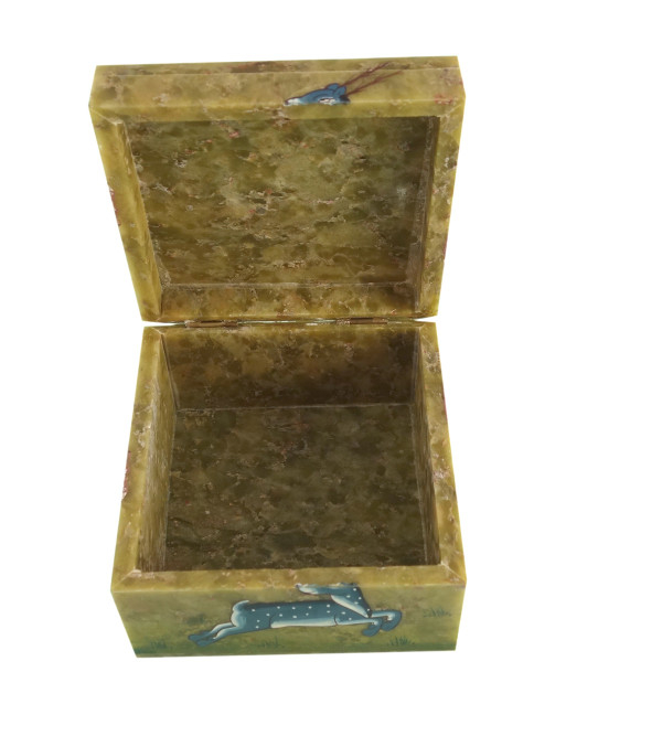 HANDICRAFT SOFT STONE PAINTED BOX 4X4X2.5 INCH