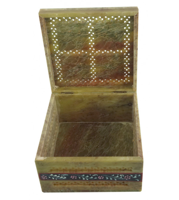 HANDICRAFT SOFT STONE PAINTED BOX 5X5X3 INCH