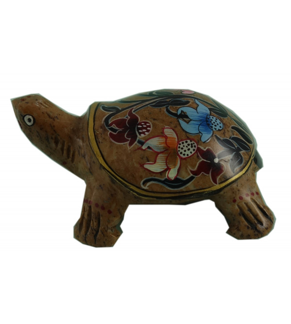 HANDICRAFT SOFT STONE PAINTED TORTOISE CANDLE HOLDER 3 INCH