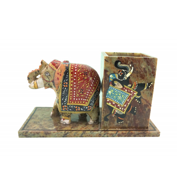 HANDICRAFT SOFT STONE PAINTED PEN STAND WITH ELEPHANT