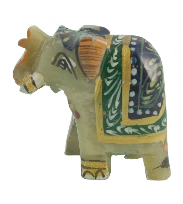 HANDICRAFT SOFT STONE PAINTED ELEPHANT 1 INCH