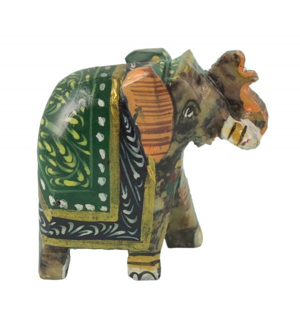 HANDICRAFT SOFT STONE PAINTED ELEPHANT 1.5 INCH