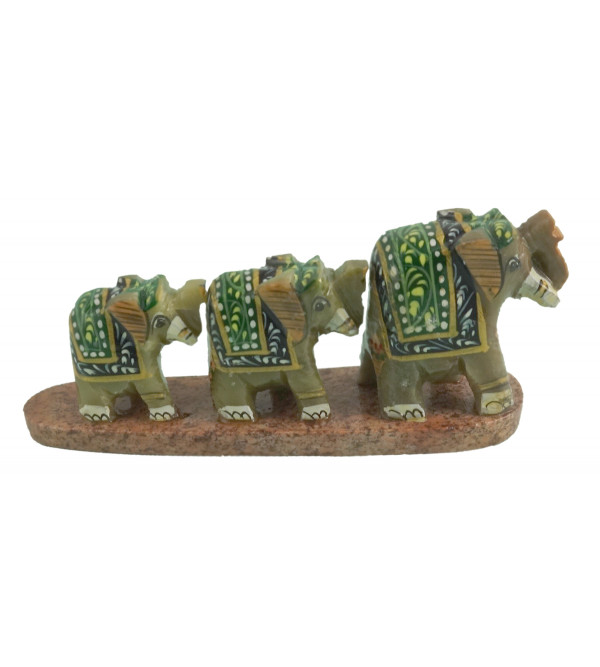 HANDICRAFT SOFT STONE PAINTED 3 ROW ELEPHANT