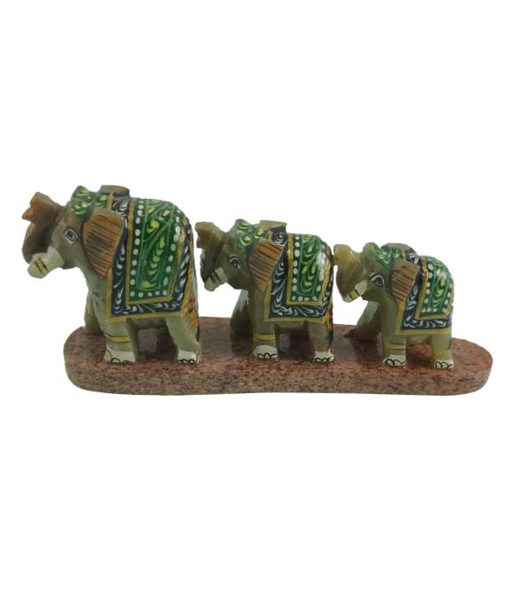 HANDICRAFT SOFT STONE PAINTED 3 ROW ELEPHANT