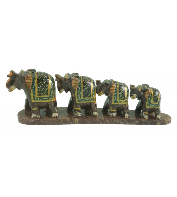 HANDICRAFT SOFT STONE PAINTED 4 ROW ELEPHANT