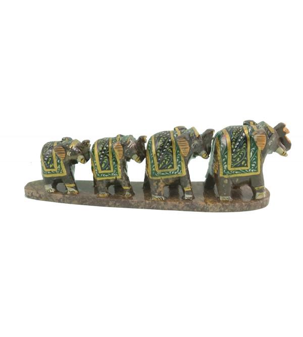HANDICRAFT SOFT STONE PAINTED 4 ROW ELEPHANT