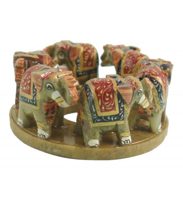 HANDICRAFT PAINTED SOFT STONE ELEPHANT RING 3 INCH