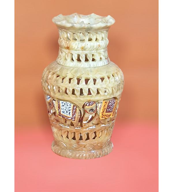 Soap stone jali painted vase 6 inch