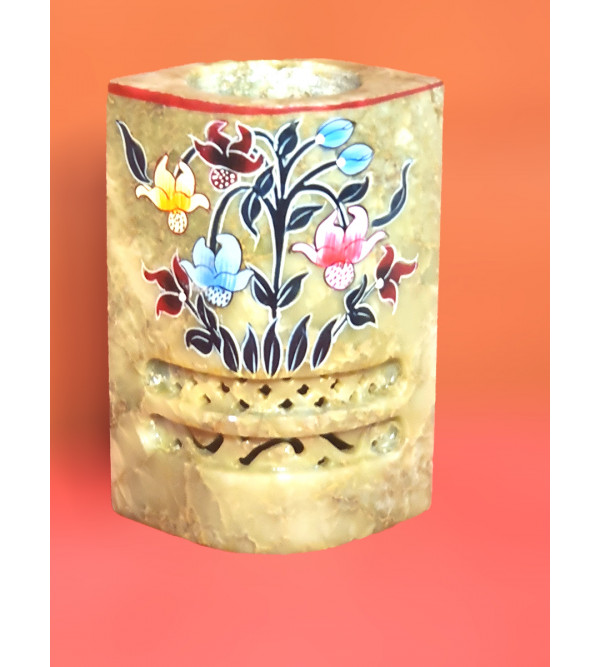 Soap stone jali painted pen stand 2x4 inch