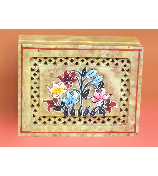 Soap stone jali painted box 4x4 inches