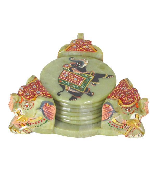 Soapstone Three Face Elephant Coaster Set Painted 6 Pc. Set