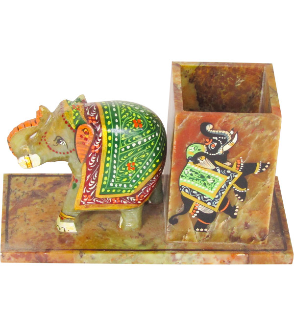 Soapstone Pen Stand With Elephant Painted Elephant Size 2.5 Inch