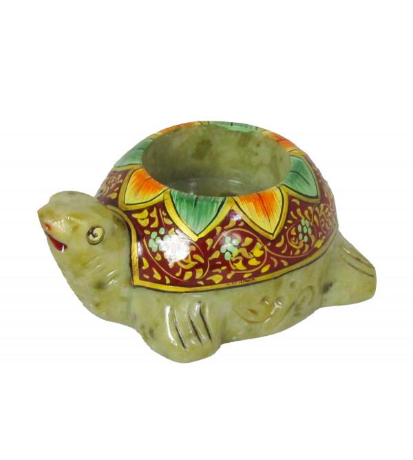 Soapstone Tortoise Candle Holder Painted Size 3 Inch